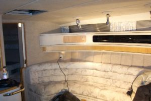 Finished interior walls, ceiling & upholstery on a boat.