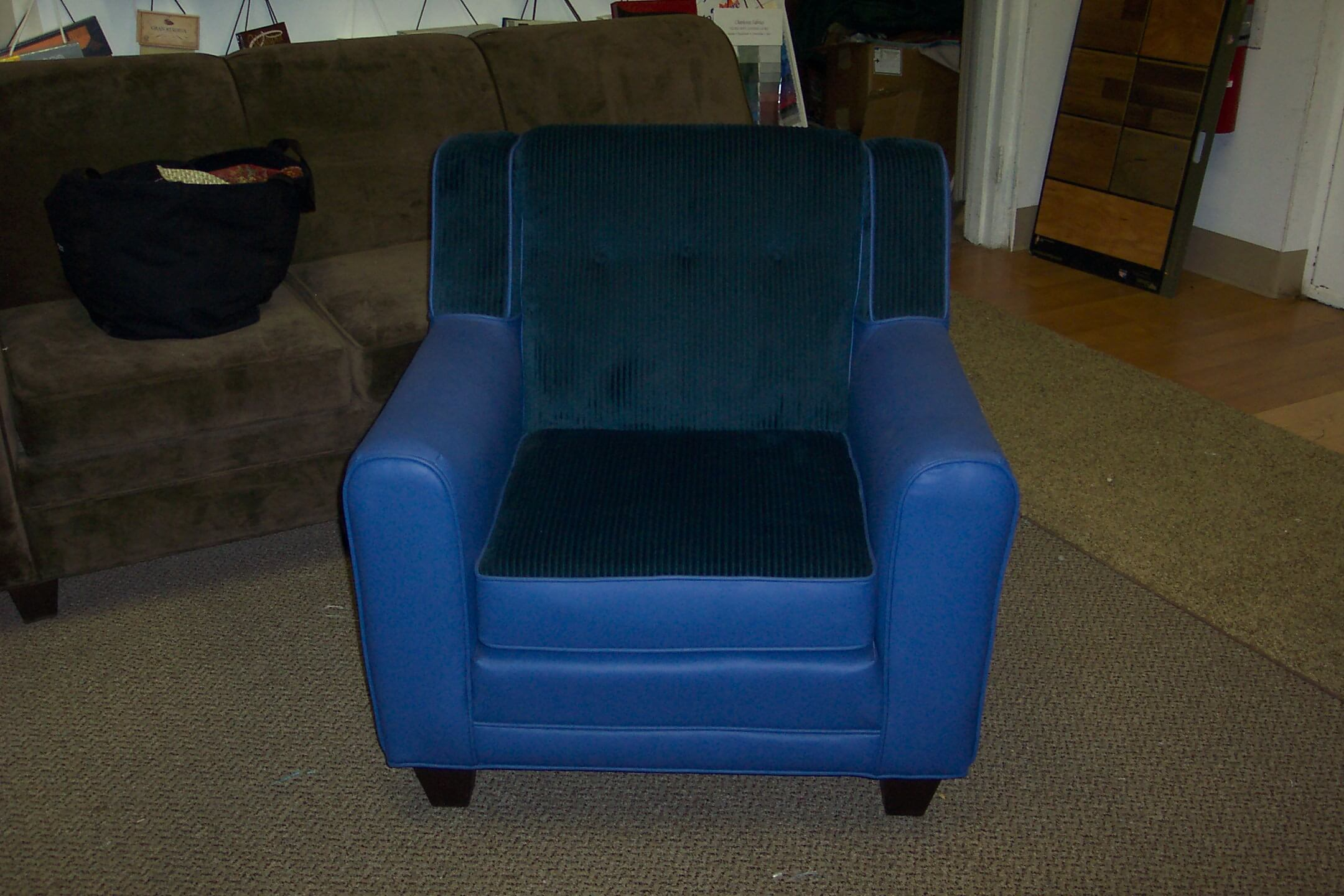blue leather chair. Finished Blue Leather Chair O