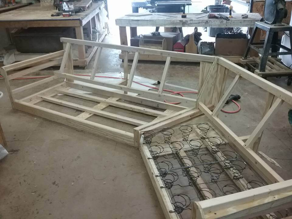 Gentil Hand Built Wooden Frame On A Custom Angled Sofa