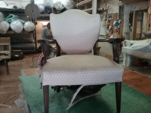 Re-upholstery wooden arm chair before