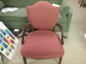 Re-upholstery wooden arm chair finished.