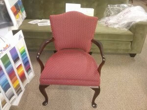 Wooden arm chair re-upholstery finished chair